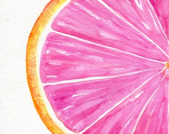 Grapefruit Watercolor Painting Original,  Ruby Red Citrus ART 8 x 10 kitchen decor. original watercolor painting of grapefruit