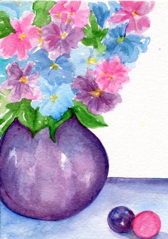 Hydrangeas watercolor painting original 5 x 7 artwork Hydrangea Flowers art in Vase Still Life, watercolors SharonFosterArt, hydrangea art