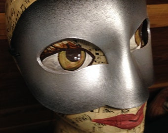 Simple Silvery Mask, silver leather mask with elastic tie