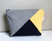 Striped Canvas Makeup Bag, Zipper Pouch, Blue Makeup Case, Cosmetic Case, Canvas Pouch, Womens Toiletry Bag, Beauty Bag