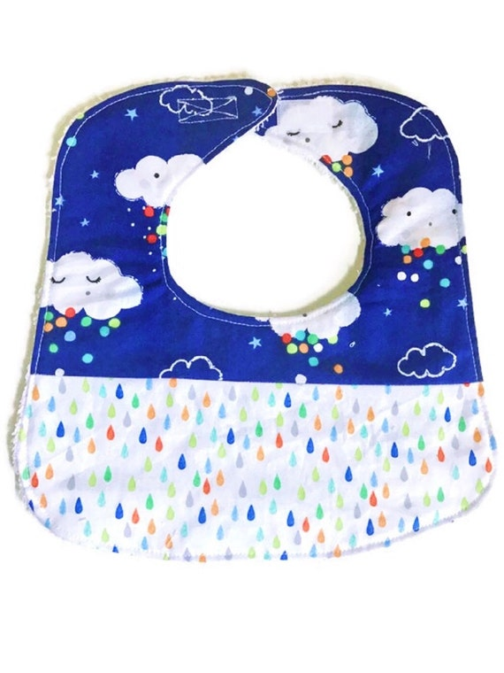 Baby Bib, Showery Rain Clouds Baby Bib, Blue Baby Boy Bib, Handmade Infant Bib