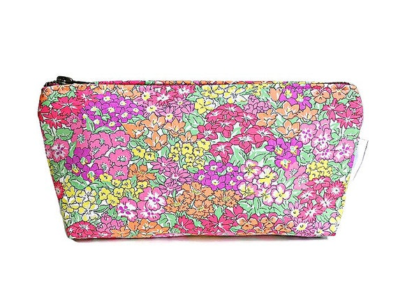 Small Makeup Bag, Floral Cosmetic Bag, Pink Makeup Bag, Cosmetic Case, Make up Case, Canvas Pouch, Liberty of London, Fabric Pouch