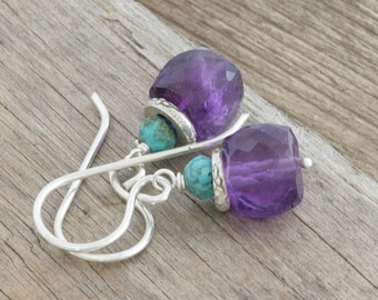 Faceted AMETHYST Cube Turquoise Hill Tribe Sterling Silver Dangle Drop Earrings // handmade earrings