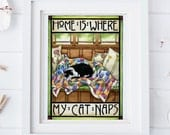 Tuxedo Cat | Cat art print | Arts and Crafts style | Home is Where My Cat Naps | Cat decor | cat lover gift | 8x10
