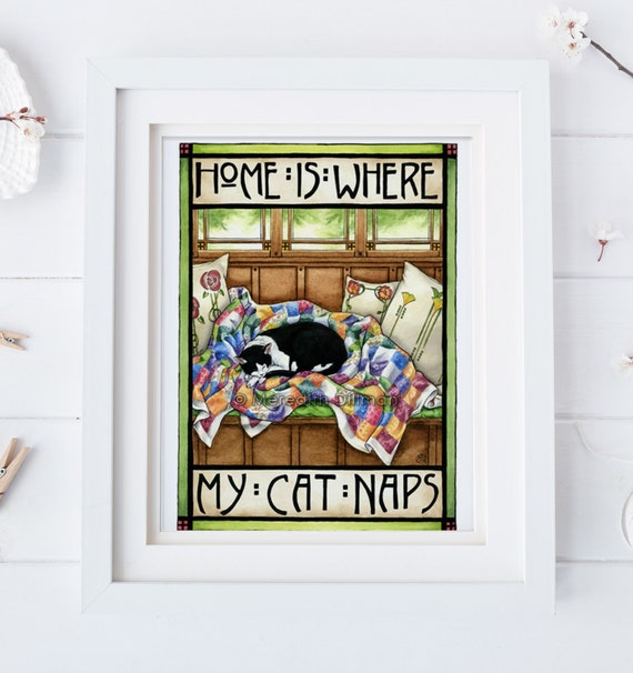 Tuxedo cat cat art print arts and crafts style home is for Arts and crafts style prints