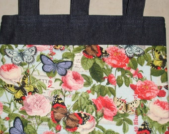 New Denim Walker Bag Butterfly Rose Garden Theme