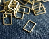 Short Rectangles 13x9mm (Thicker) - Raw Brass - 24pcs - Rectangle Connector, Brass Rectangle, Rectangle Link, Rectangle Ring