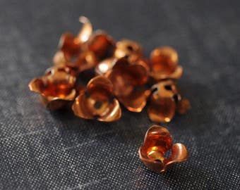 Vintage 12mm Cupped Three Petal Flowers - Copper Coated - Rare - 12pcs - Copper Flower Bead Cap - Brass Flower Stamping - Large Brass Flower