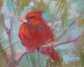 Winter CARDINAL bird  mini Original Pastel Painting  Karen Margulis ATC