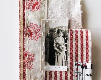 Mini art quilt, hand stitched, vintage photo, The Bridesmaid, textile art patch