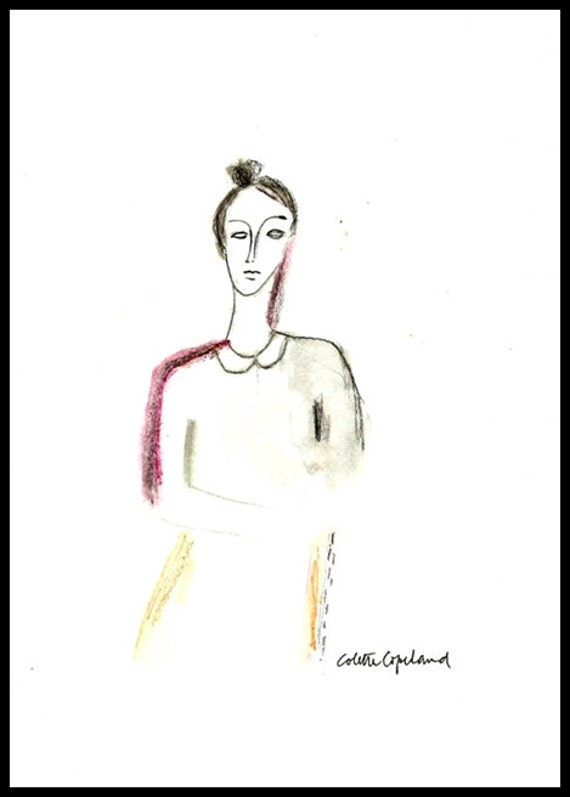 After Modigliani, watercolor sketch on paper,  woman, portrait