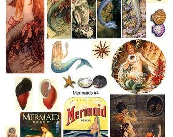 Mermaids No. 4 - Digital Collage Sheet - Instant Download
