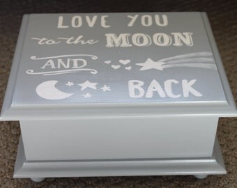 Love you to the moon and back  Baby Keepsake Memory Box personalized baby gift hand painted