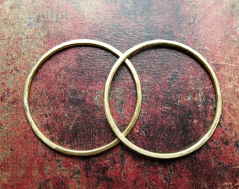 Brushed Bright Brass Circle Links - 1 pair - 27mm - 16 gauge Soldered Circles