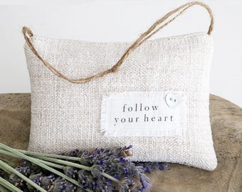 "Vintage French Grain Sack Lavender Sachet, ""follow your heart"" Natural Linen Door Hangar Sachet"