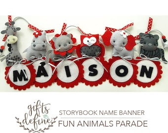 FREE US SHIP Fun Animals Name Banner, Custom Personalized Name Hanging Banner, Unique Wall Art Room Decor for Baby Nursery or Kids Playroom