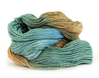 Aran worsted wool, handdyed merino silk crochet yarn, Perran Yarns Pandora's Forest, forest green sea blue brown variegated skein uk seller