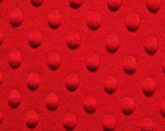 ON SALE - 40% Off TOP Quality Red Plush Minky Dot Fabric Bty