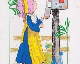 Sunbonnet Girl At Mailbox