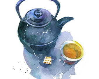 Teapot and Tea watercolor art food print in multiple sizes