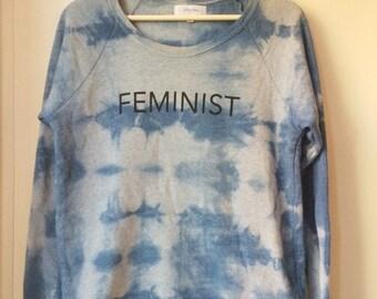 Limited Edition, Indigo Dyed Feminist Crew Neck Sweatshirt, Medium, Heather Gray, Fleece, Anna Joyce, Portland, Or