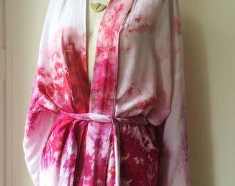 Hand Dyed Kimono Robe in Peony, Tie Dye, Shibori, Rayon Bathrobe, Anna Joyce, Portland, OR.