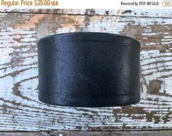 40% OFF- Custom Leather Cuff-Create Your Own-Dark Navy Leather-Word Cuff