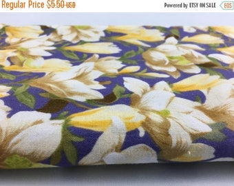 40% OFF- Floral Quilting Fabric- Vintage Quilting Cotton Fabric-Yellow and Purple
