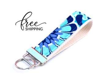 Key Fob Keychain Wristlet | Fabric Keychain with Blue and Aqua Floral | Free Shipping