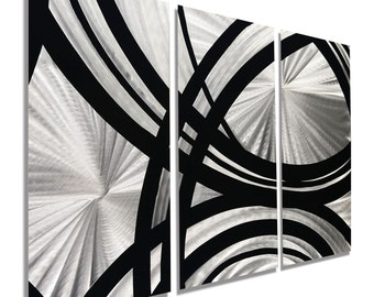 Multi Panel Metal Wall Art In Silver & Black, Modern Metal Wall Sculpture, Abstract Metal Decor, Set of 3 - Fast and Furious 3P by Jon Allen