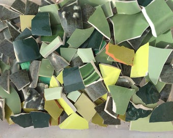 Green 200 Solid Mix of Colors Fillers  Mosaic Tiles Broken Plate Pieces Art Tesserae