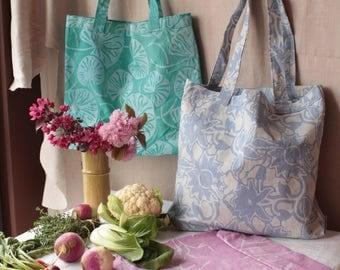 hand printed lavender trellis grocery bag