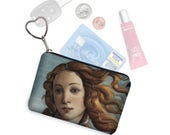 Credit Card Holder Small Zipper pouch Coin Purse Keychain Key Fob Business Card Case  Change Purse in Birth Of Venus  blue gold black MTO