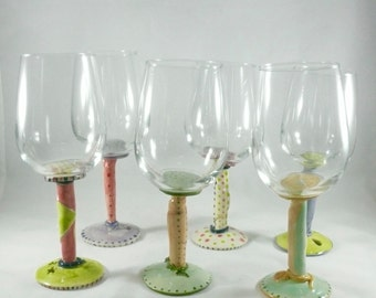 Stemmed Wine Glass, Ceramic Water Goblet with Stem, Champagne Flute, Ceramic Wine Cup, Fun Colorful Wedding Wine Glass, Drinking Glass