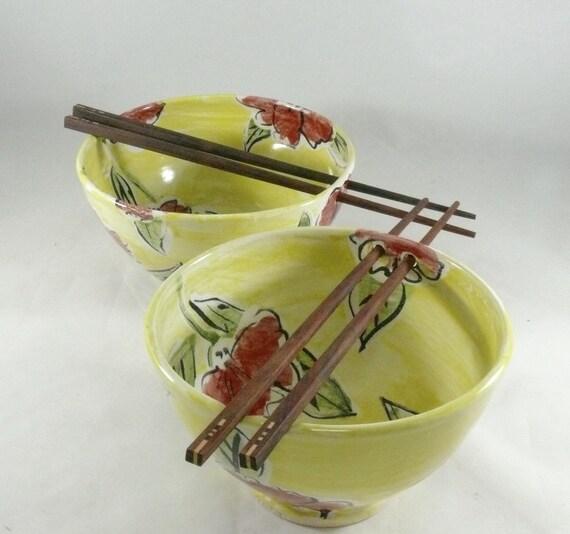 Chopstick Noodle Bowl, Rice Bowl, Poppy Flower Art, Sushi Oriental, Pho Bowl, pottery and ceramics, Vietnamese Soup Bowl, Hot Pot