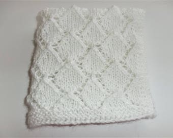 Knit Doll Blanket-White Doll Blanket-Hand Knit Doll Blanket-Cuddle Blanket-White Lacy Blanket-Reborn Doll Blanket-Doll Accessories