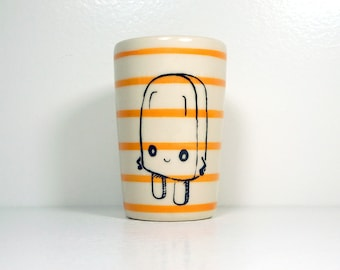 itty bitty cylinder / vase / cup with a Sassy Popsicle food print on Orange pinstripes, Ready to Ship