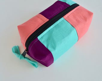 Boxy Zipper Pouch - Color Block Zipper Pouch - Purple Aqua Coral Pouch - Make up Bag - Gift for Teen Girls - Gift for girls - Boxy pouch
