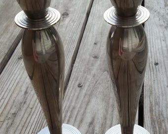 Vintage Silver Candle Holders Set of 2 India Circle Pair Heavy Taper Chrome Candlesticks