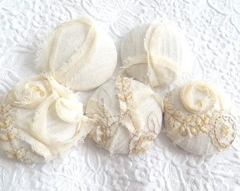 5 ivory beaded sequinned ruffled buttons, 1 7/8 inches, 1.9 inches, 4.7 cm, 48.26 mm, size 75 buttons