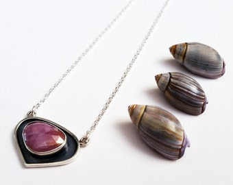 Pink Sapphire and  Oxidized Sterling Silver Necklace