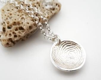 Sterling Silver Fingerprint Dome Necklace