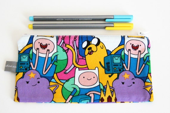 Pencil case - Zipper pouch - Adventure Time - cartoon - colors - Jake - Finn - Lumpy Space Princess - pencils - handbag - gift - girl or boy
