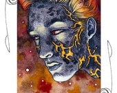 Fire Elemental ACEO 2.5x3.5 Print Mini Trading Card Art