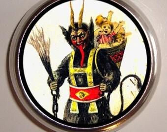 Devil Krampus Satan Horror Pillbox Pill Box Case Holder for Vitamins Pills