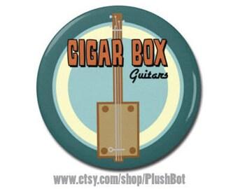 "Cigar Box Guitar 1.25"" or 2.25"" Refrigerator Magnet, Guitarist Musician Music Gifts, Guitar Player, Guitar Accessory"