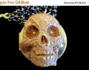 ON SALE Dia Los Muertos - Day of the Dead Locket Necklace