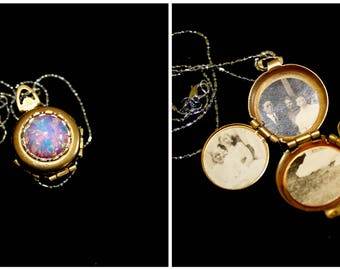 Vintage Four Picture Locket Necklace - Harlequin Opal Locket - Silver and Gold