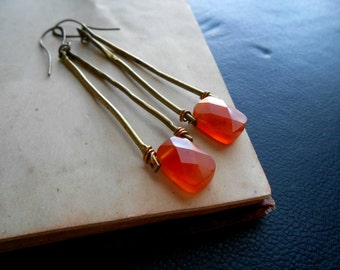 glow - orange carnelian and brass trapeze earrings - minimal geometric edgy tribal earrings
