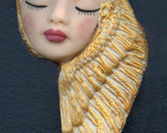 OOAK Polymer Clay Face with Golden Wings  Art Nouveau    AWC 5